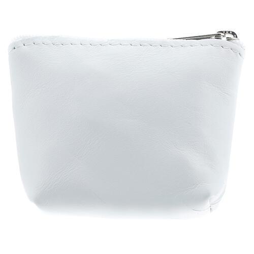 Divine Mercy white leather rosary bag 7x9x3 cm 2