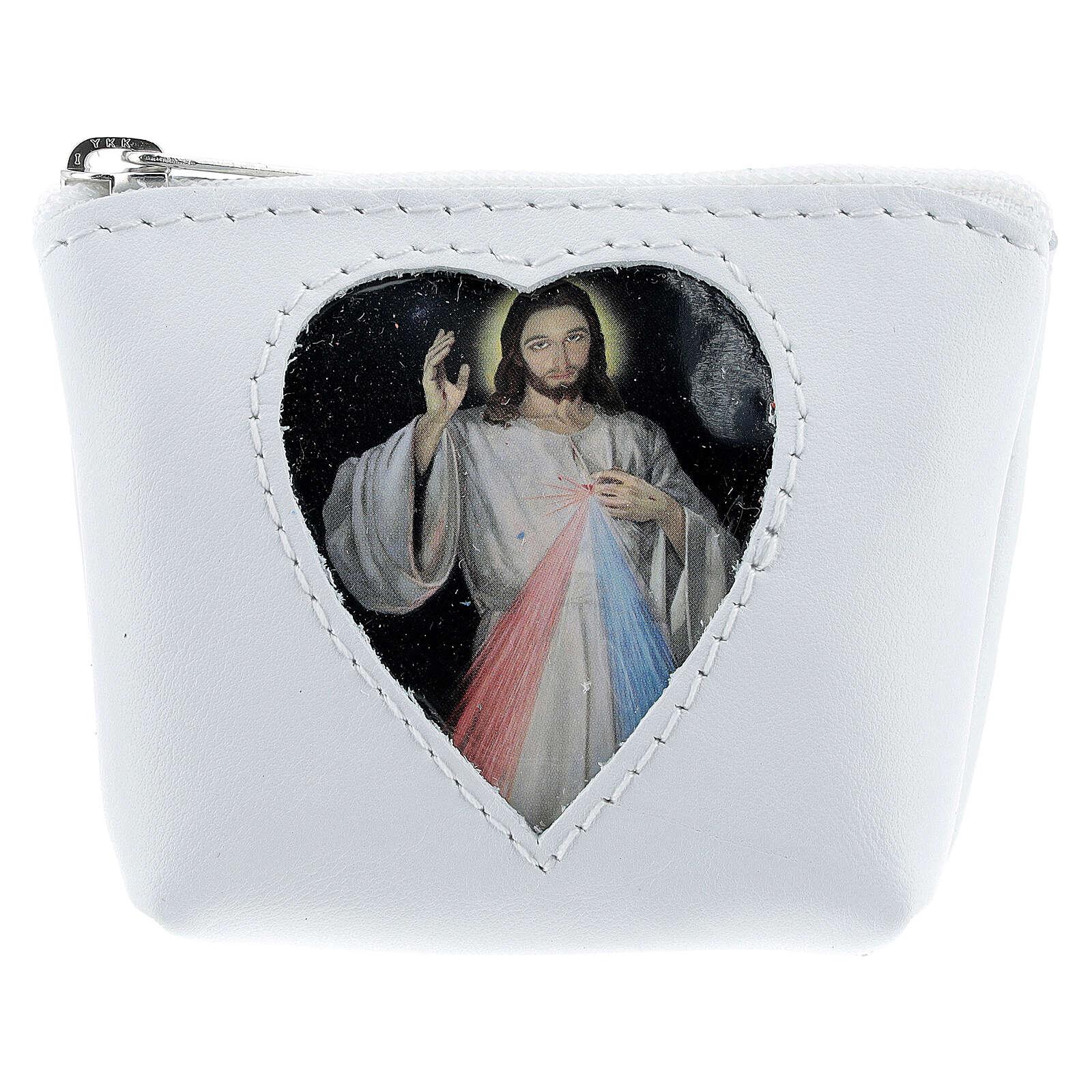 Pochette portarosario cuore Gesù Misericordioso pelle bianca 7x9x3 cm 4