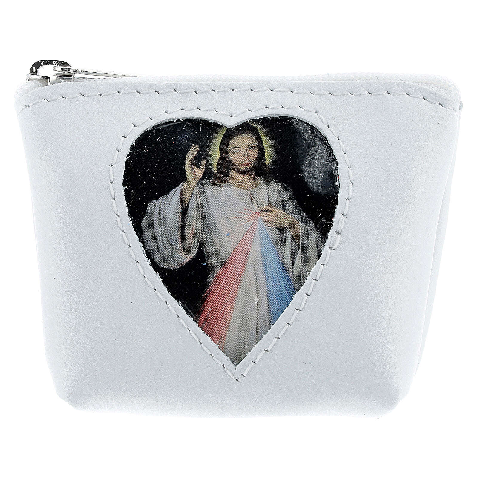 White leather rosary case heart Divine Mercy 3x4x1 in 4