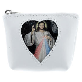White leather rosary case heart Divine Mercy 3x4x1 in s1