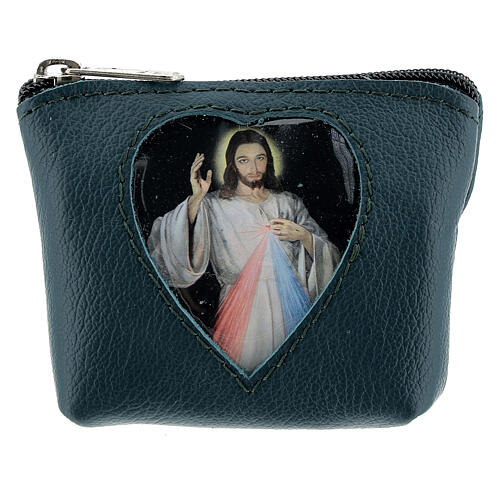 Green leather rosary case heart Divine Mercy 3x4x1 in 1