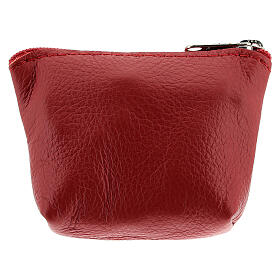 Divine Mercy red leather rosary bag 7x9x3 cm s2