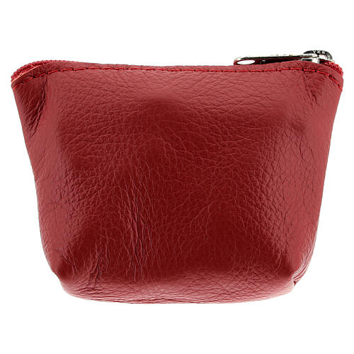 Divine Mercy red leather rosary bag 7x9x3 cm 2