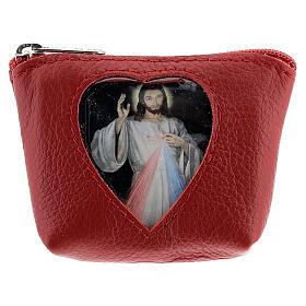 Pochette pour chapelet coeur Christ Miséricordieux cuir rouge 7x9x3 cm s1