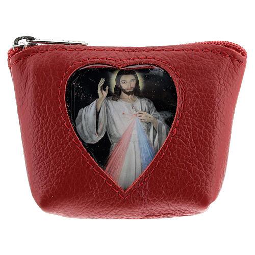 Pochette pour chapelet coeur Christ Miséricordieux cuir rouge 7x9x3 cm 1