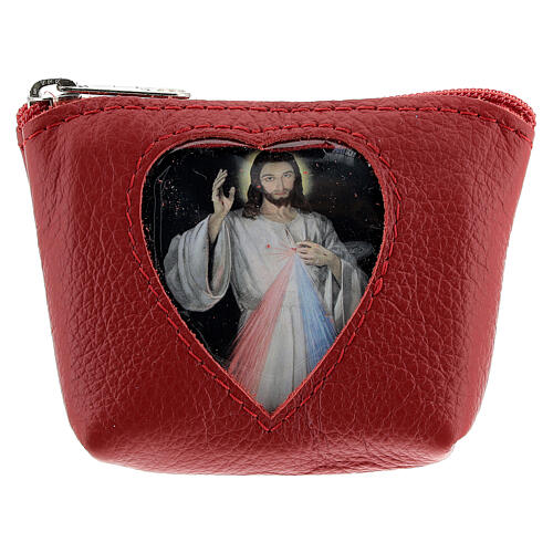Red leather rosary case heart Divine Mercy 3x4x1 in 1