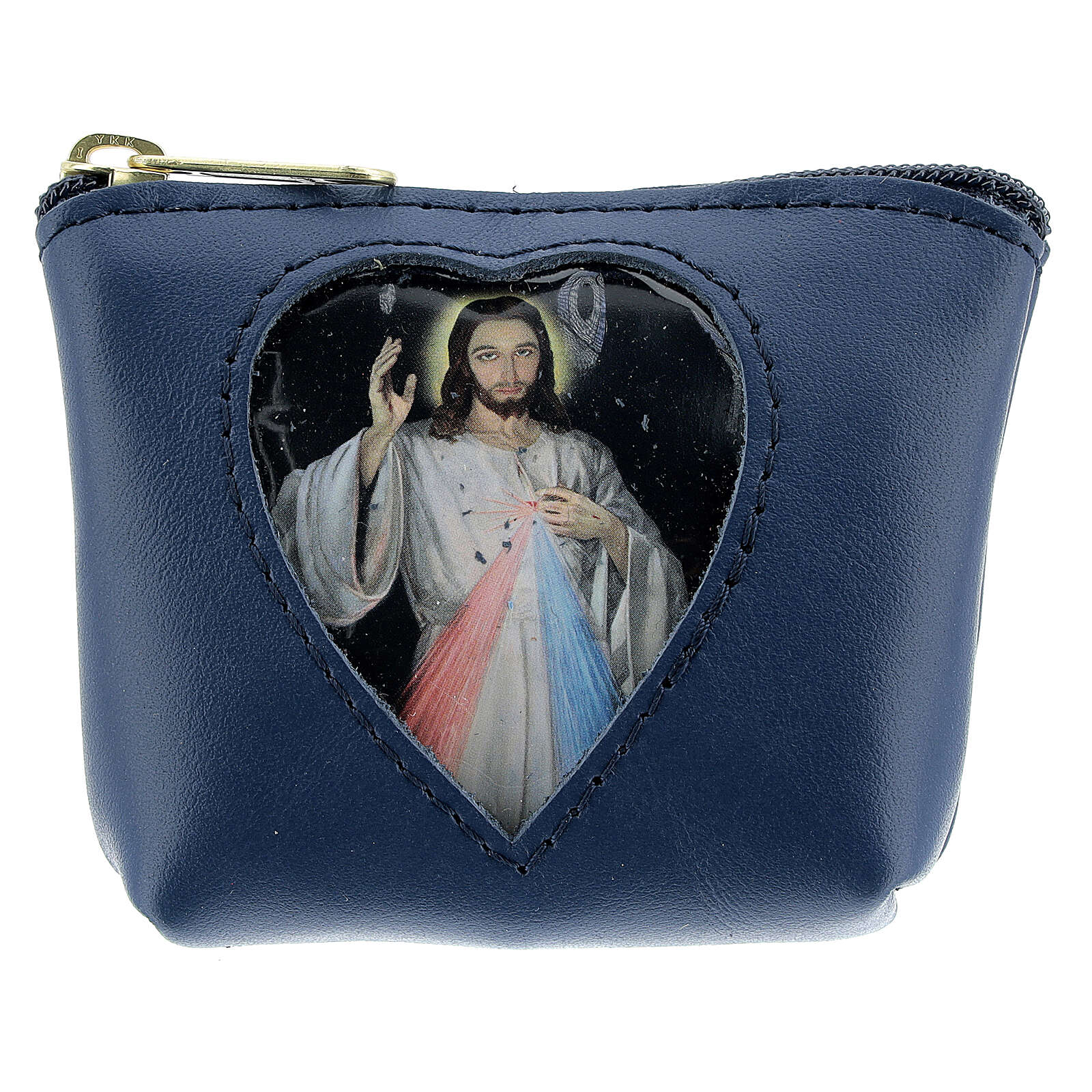 Blue leather rosary case with Divine Mercy 3x4x1 in 4