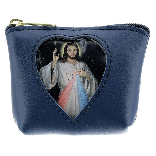 Blue leather rosary case with Divine Mercy 3x4x1 in 1