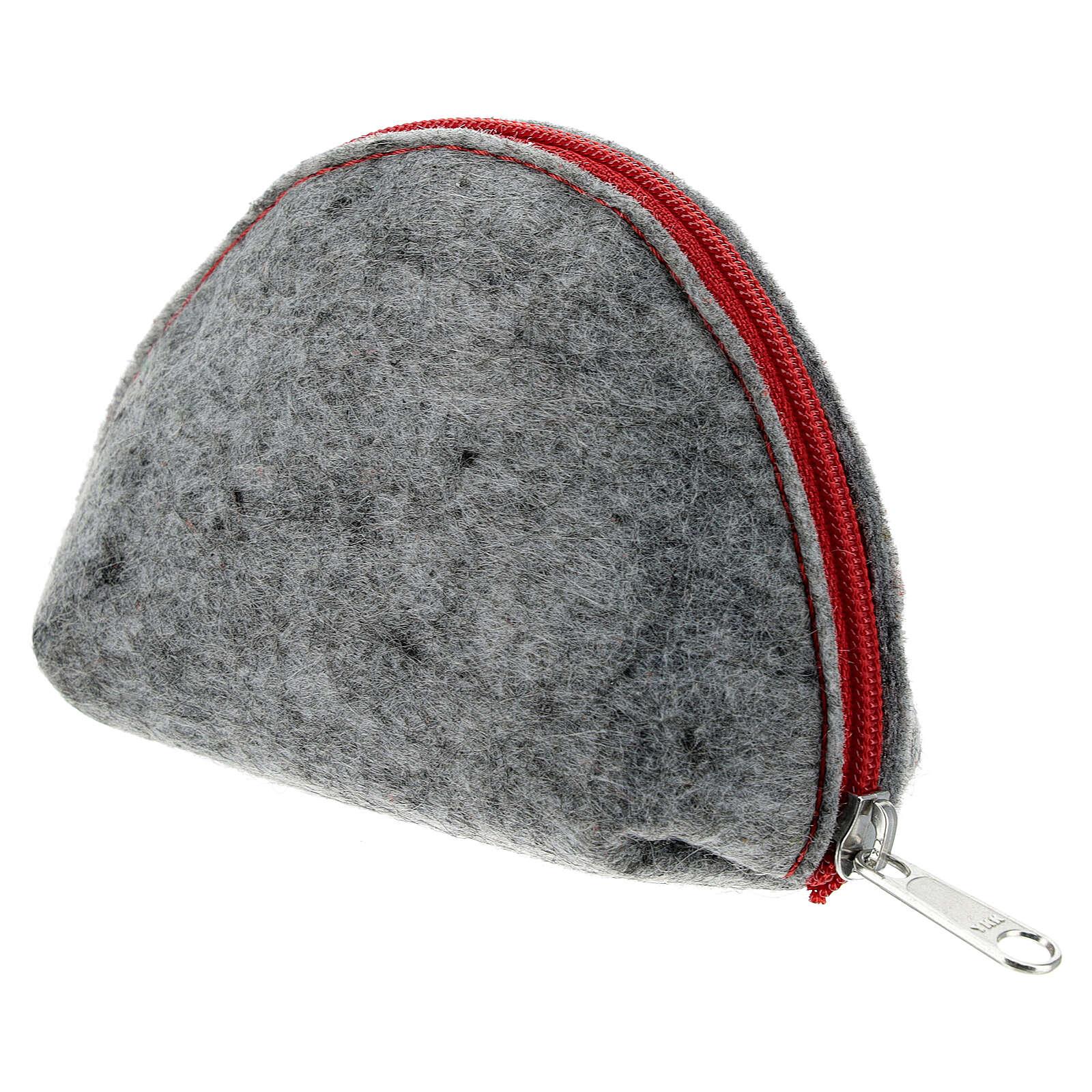 Pochette à chapelet feutre gris cuir rouge Immaculée Conception 7x11x4 cm 4