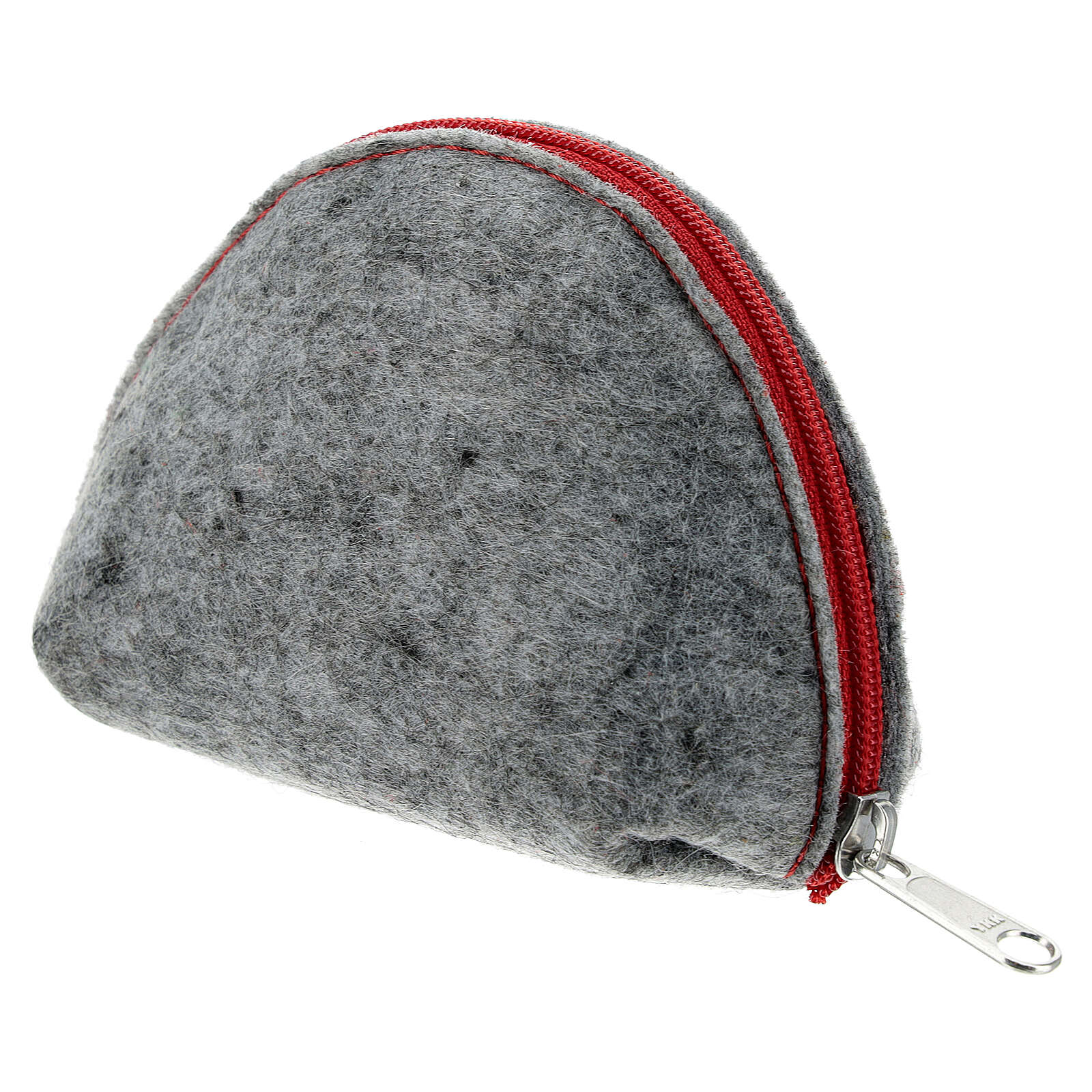 Immaculate Virgin rosary case grey felt and red leather 3x4x2 in 4