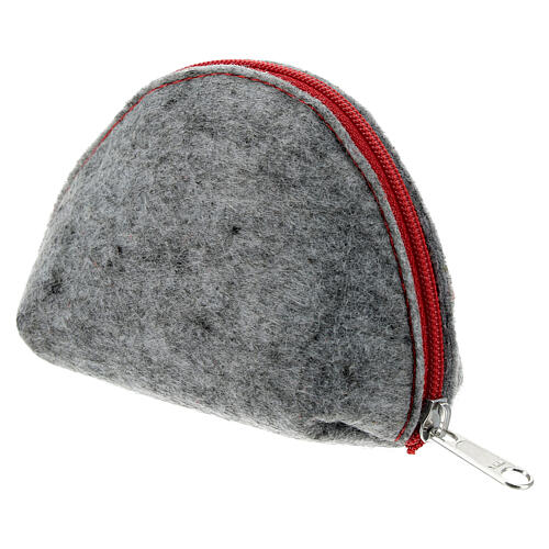 Immaculate Virgin rosary case grey felt and red leather 3x4x2 in 2