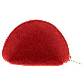 Pochette à chapelet feutre rouge cuir rouge Immaculée Conception 7x11x4 cm s2