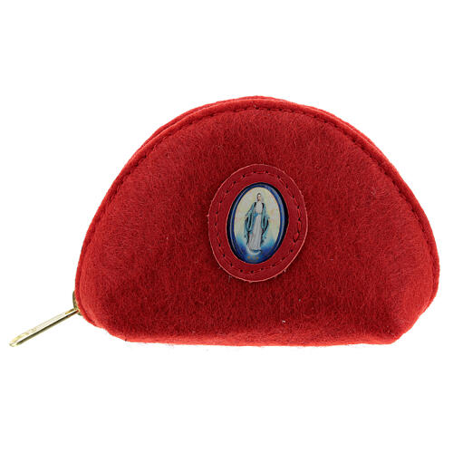 Immaculate Virgin rosary case red felt and leather 3x4x2 in 1