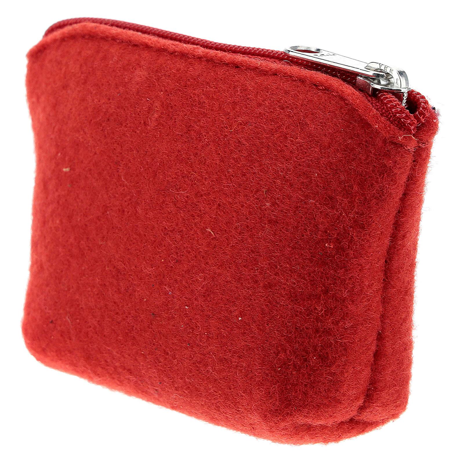 Astuccio portarosario feltro rosso Divina Misericordia 7x10x3 4