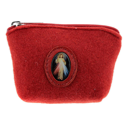 Divine Mercy rosary case red felt 3x4x1 in 1