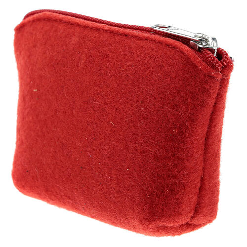Divine Mercy rosary case red felt 3x4x1 in 2