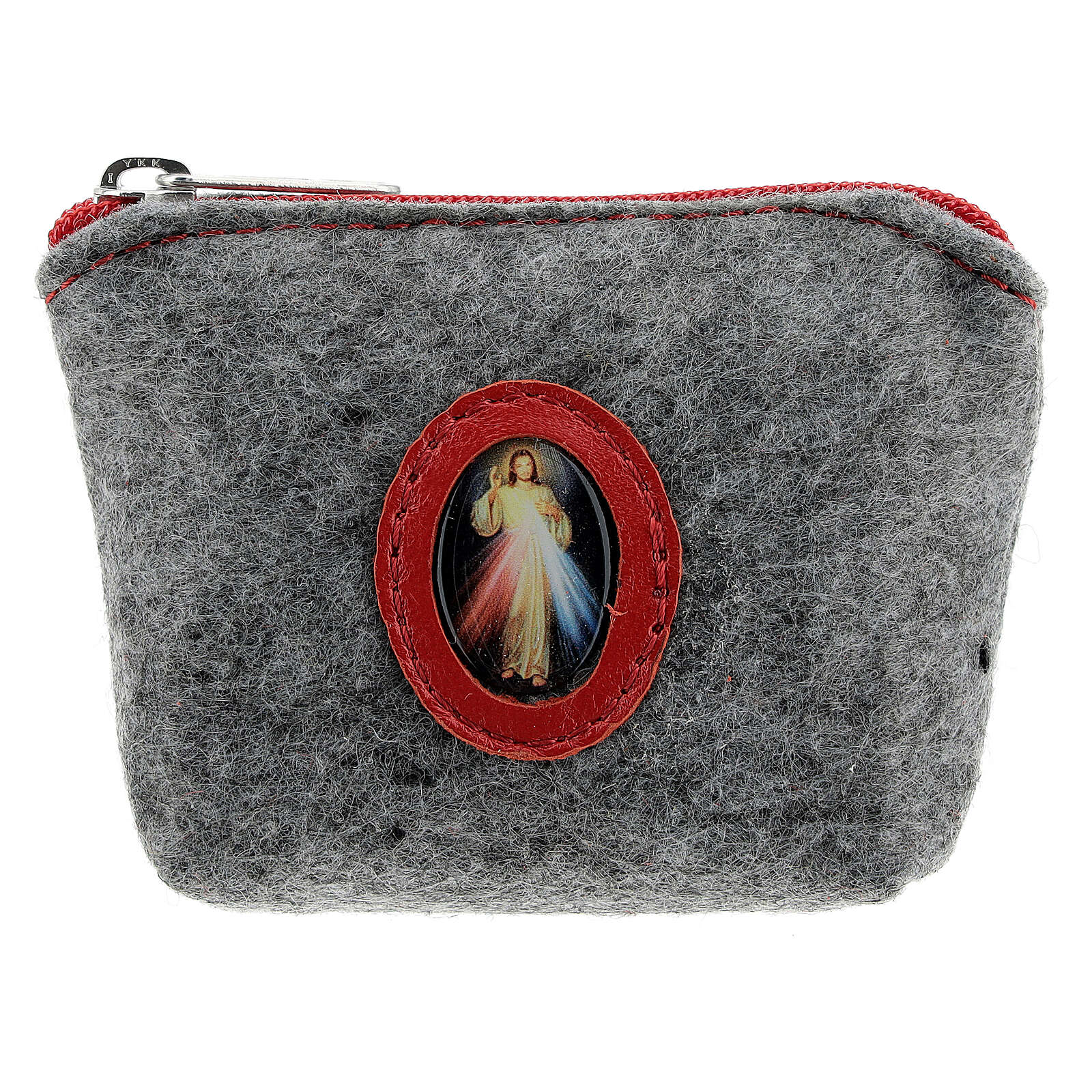 Merciful Jesus rosary case in felt and grey leather 7x10x3 cm 4