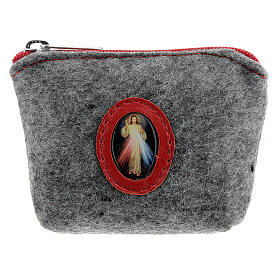 Merciful Jesus rosary case in felt and grey leather 7x10x3 cm s1