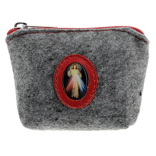 Merciful Jesus rosary case in felt and grey leather 7x10x3 cm 1