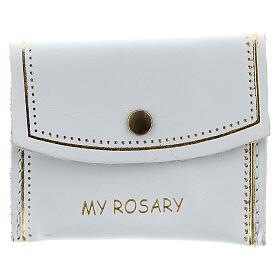 Bolso de mano My Rosary para rosario cuero blanco 7x9 cm s1