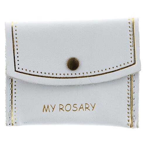 Bolso de mano My Rosary para rosario cuero blanco 7x9 cm 1