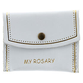 White leather rosary case My Rosary 2x3 in s1