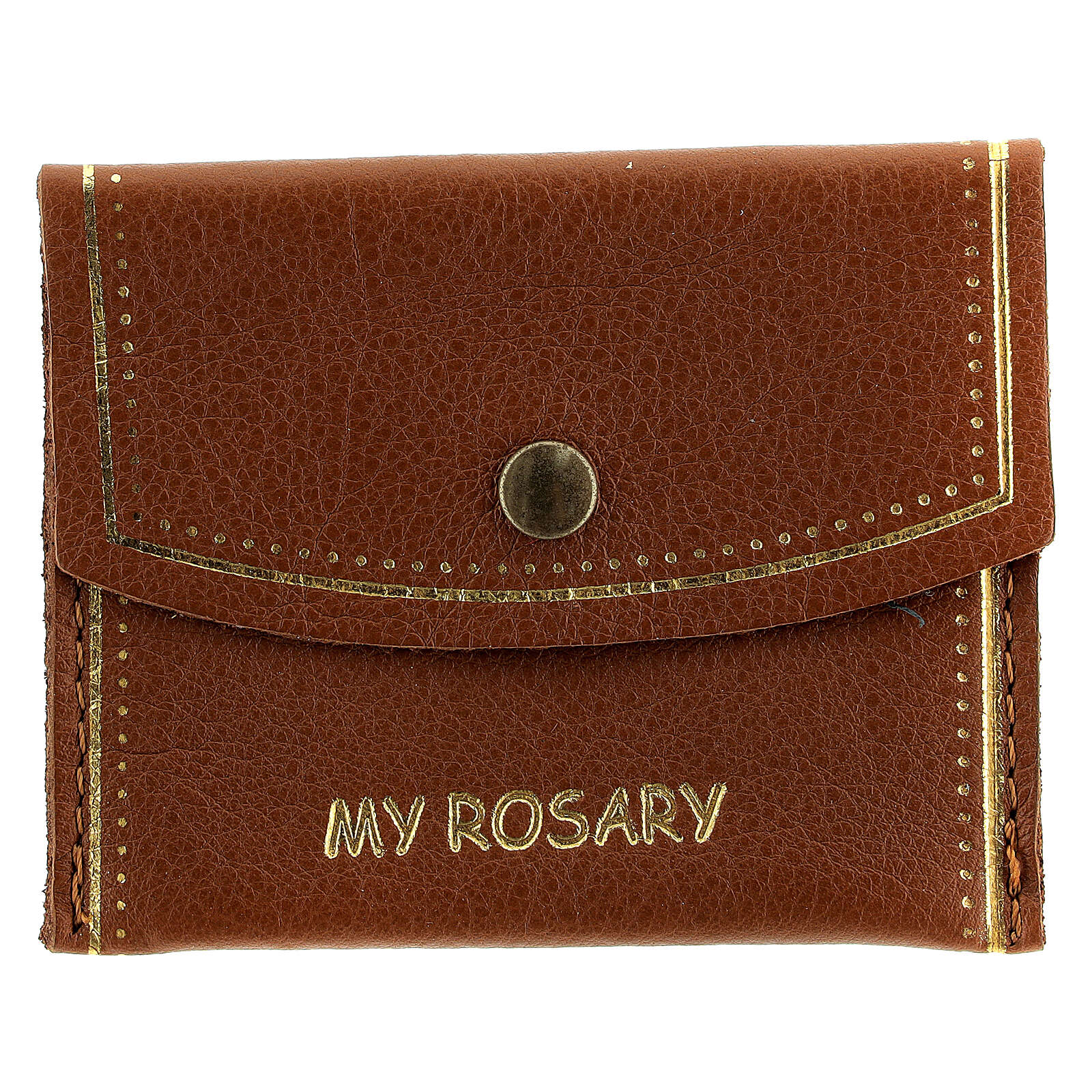 Brown leather rosary bag My Rosary 7x9 cm 4