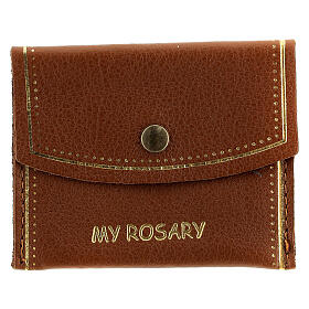 Brown leather rosary bag My Rosary 7x9 cm s1
