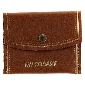 Pochette pour chapelet My Rosary cuir marron 7x9 cm s1