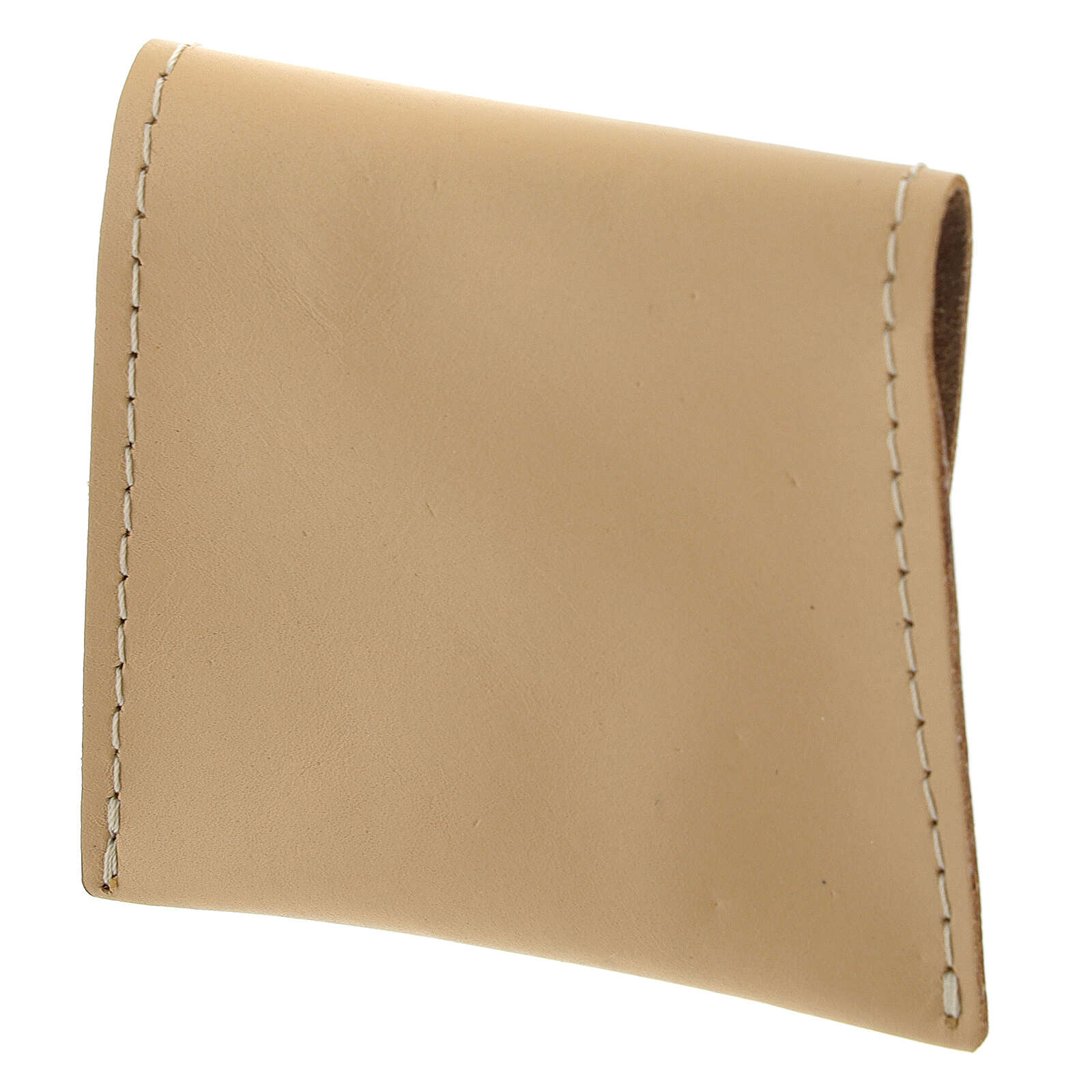 Beige leather rosary case with snap fastener 3x3 in 4