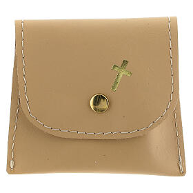 Beige leather rosary case with snap fastener 3x3 in s1
