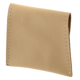 Beige leather rosary case with snap fastener 3x3 in s2