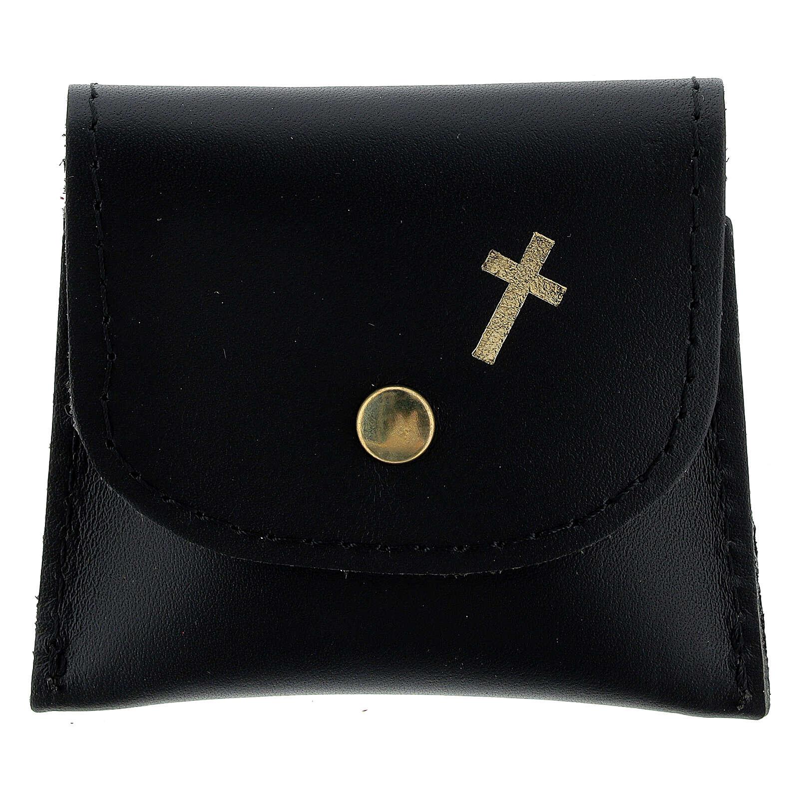 Black leather rosary case golden cross 6.5x8 cm 4