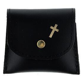 Black leather rosary case golden cross 6.5x8 cm s1