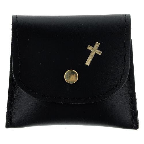 Pochette chapelet cuir noir bouton 7x8 cm 1