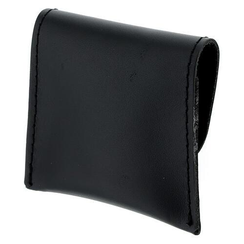 Pochette chapelet cuir noir bouton 7x8 cm 2