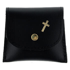 Black leather rosary case with golden cross 3x3 in s1