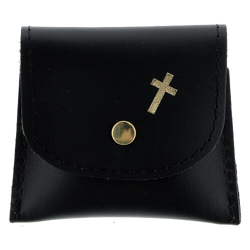 Black leather rosary case with golden cross 3x3 in 1