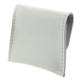 Pochette chapelet cuir blanc bouton 7x8 cm s2