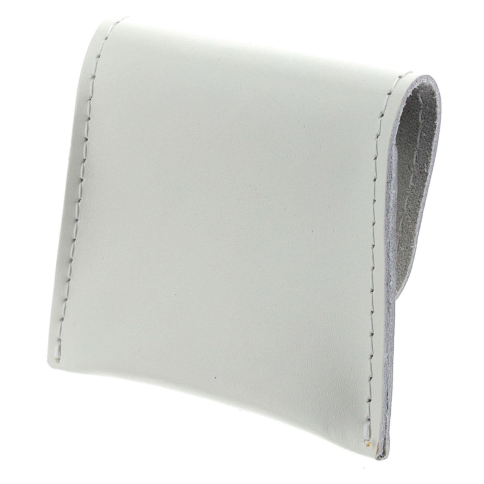 Bustina portarosario bottone pelle bianca 7x8 cm 4