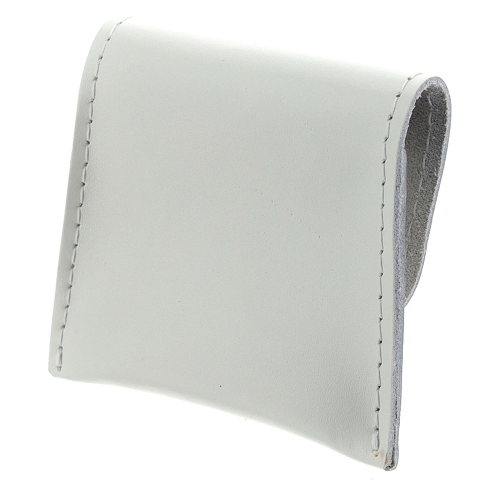 White leather rosary case with snap fastener 3x3 in 4