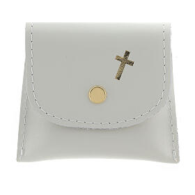 White leather rosary case with snap fastener 3x3 in s1
