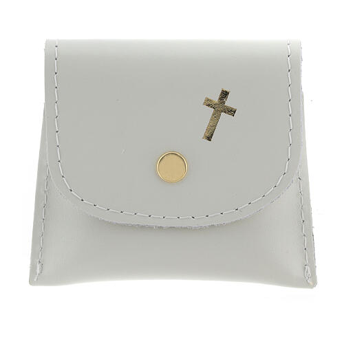 White leather rosary case with snap fastener 3x3 in 1