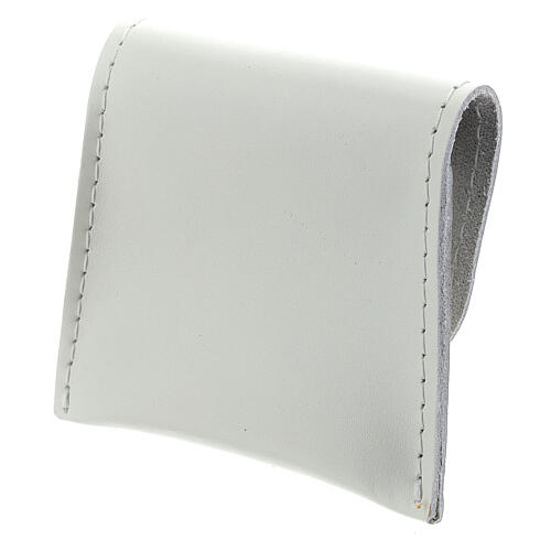 White leather rosary case with snap fastener 3x3 in 2