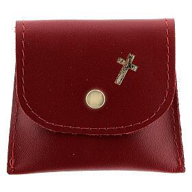 Pochette chapelet cuir rouge bouton 7x8 cm s1