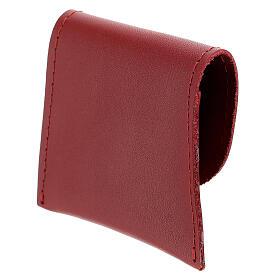 Pochette chapelet cuir rouge bouton 7x8 cm s2