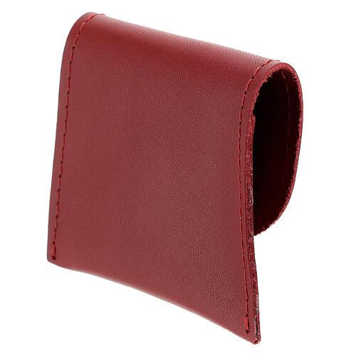 Pochette chapelet cuir rouge bouton 7x8 cm 2