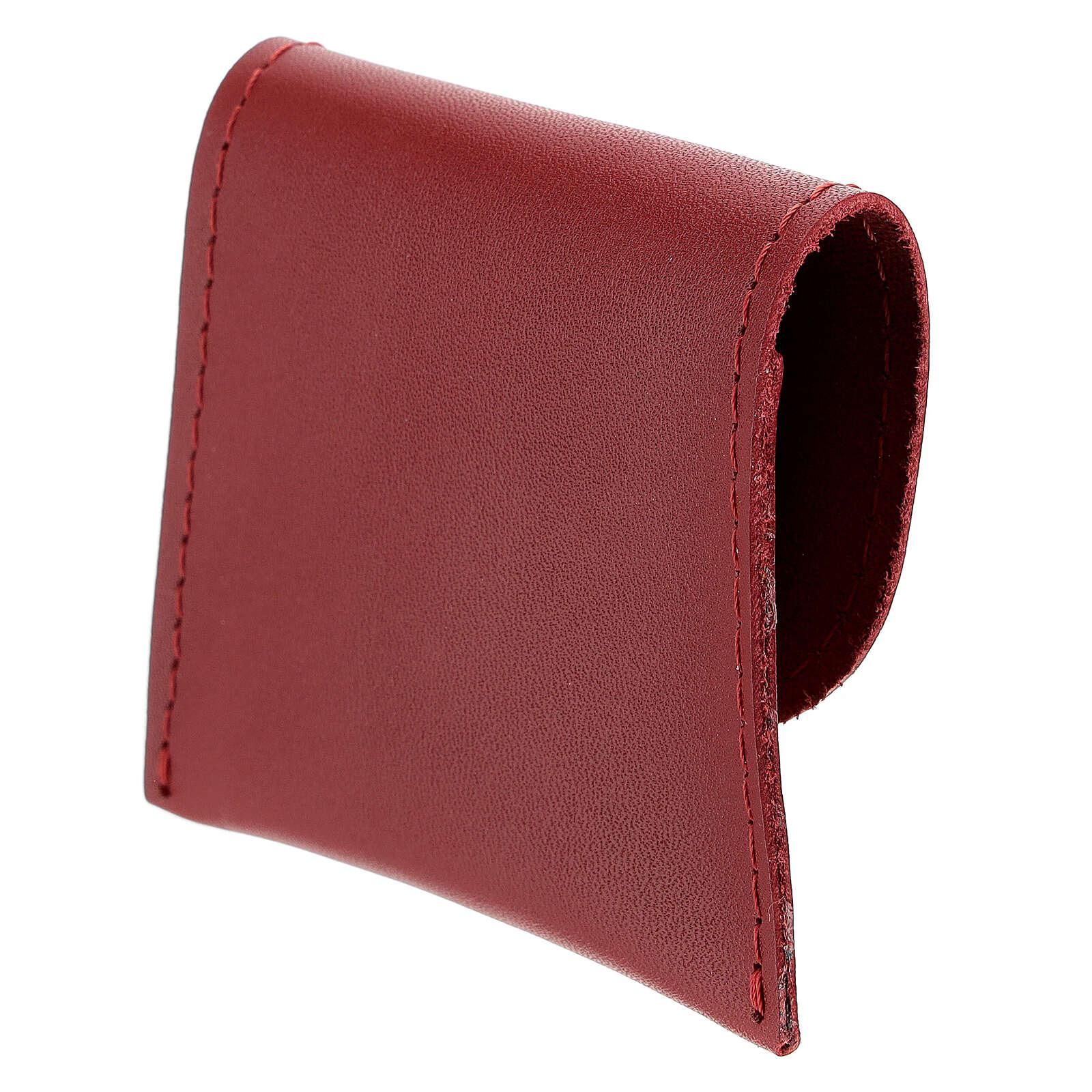 Astuccino portarosario pelle rossa croce 7x8 cm 4
