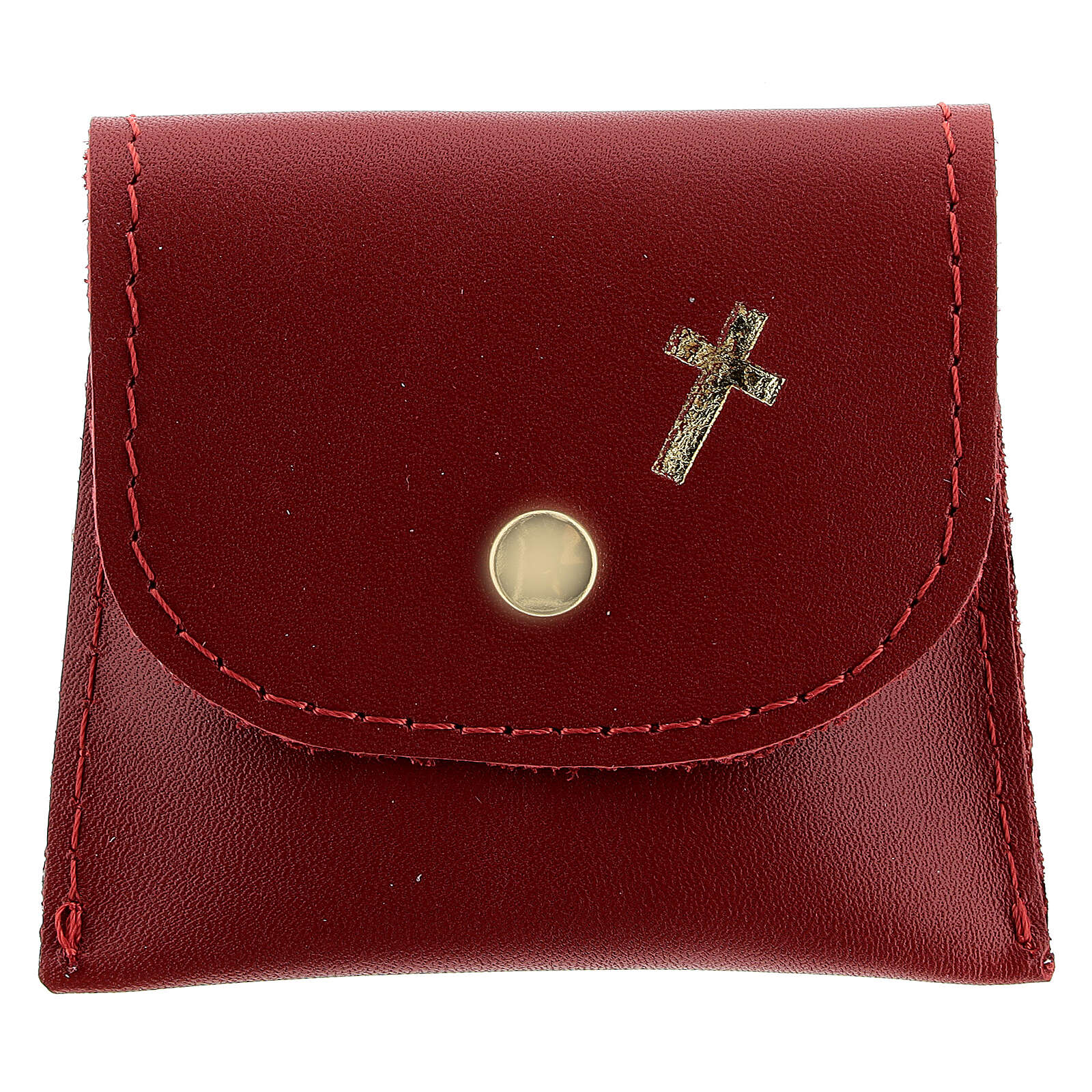 Red leather rosary case with golden cross 3x3 in 4