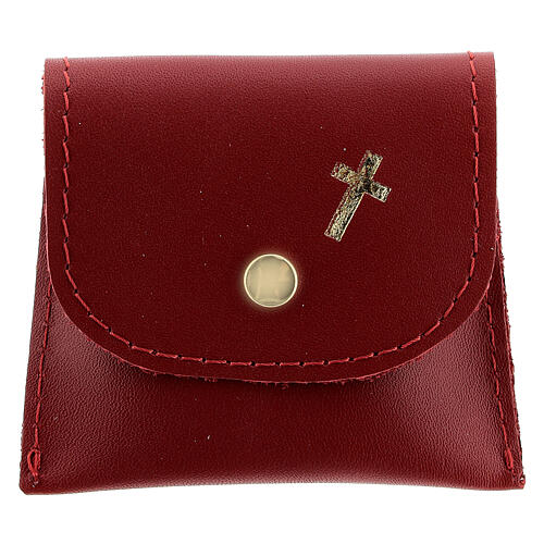 Red leather rosary case with golden cross 3x3 in 1